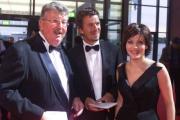 Fernsehpreis-Organisator Richard Mahkorn mit Markus Lanz und Birgit Schrowange