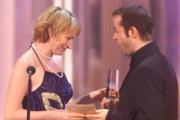 Beste Schaupielerin Fernsehfilm Corinna Harfouch mit Laudator Jan Josef Liefers