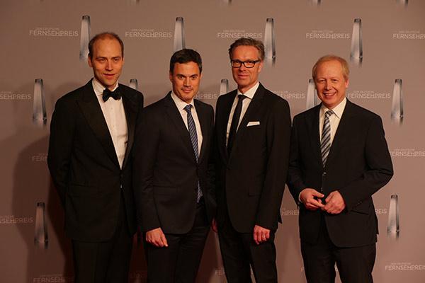 Die Stifter des Deutschen Fernsehpreises 2016: Kaspar Pflüger, Norbert Himmler (Programmdirektor ZDF), Frank Hoffmann, Tom Buhrow